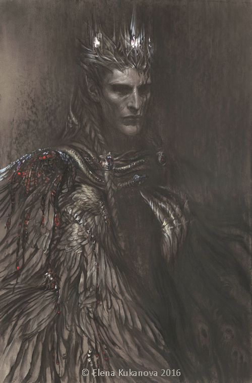 """Morgoth by EKukanova.deviantart.com on @DeviantArt. """"This vision of Morgoth is inspired by one fan-novell   Замысел Эру — фанфик по фэндому «Толкин Джон Р.Р. «Сильмариллион»», «Толкин Джон Р.Р. «Арда и Средиземье»»   And this cloak of bleeding wings is hallucination of captive Maedhros)"""""""