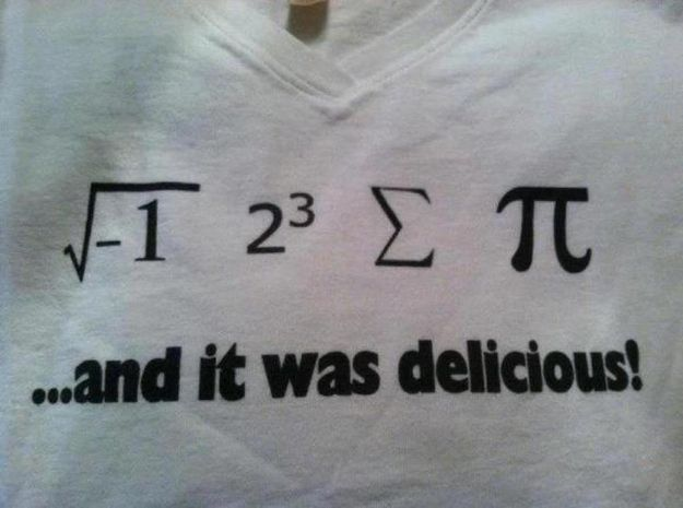 Math Jokes! My math teacher once wrote this on the board, and she gave extra credit to the people who got it right.
