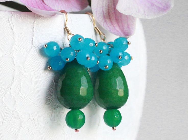 Orecchini smeraldo genuini reale e cluster aqua blu agata oro placcato 925 monachelle nuziale gioielli italiani di AuroraFashionJewelry su Etsy https://www.etsy.com/it/listing/466941579/orecchini-smeraldo-genuini-reale-e