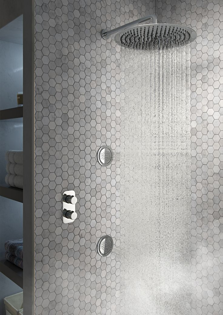 http://walkinshowers.org/best-shower-systems-buying-guide.html ~ Penny tiles - we love them at the moment! Useful built in shelving alcoves/recesses next to the shower - we love these too, generally just a very cool corner shower area for an ultimate stylish drenching!
