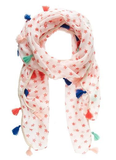 Printed cotton woven girls scarf with coloured  tassel detail Size 160cm x 35cmTassels Scarf, Tassels Details, Colours Scarves Kids, Prints Cotton, Kids Scarves, Colours Tassels, Stars Tassels, Cotton Woven, Girls Scarf