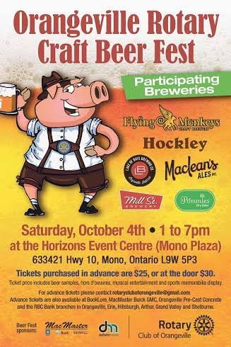 Orangeville Rotary Craft Beer Fest Saturday Oct 4th Orangeville, Ontario in Ontario