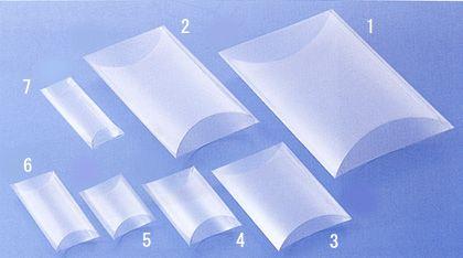 クリスタルボックス:透明の箱:ピローボックス:枕方の箱 ラッピング専門店●お包み屋●シール、リボン、包装紙の包装用品とブライダル用品