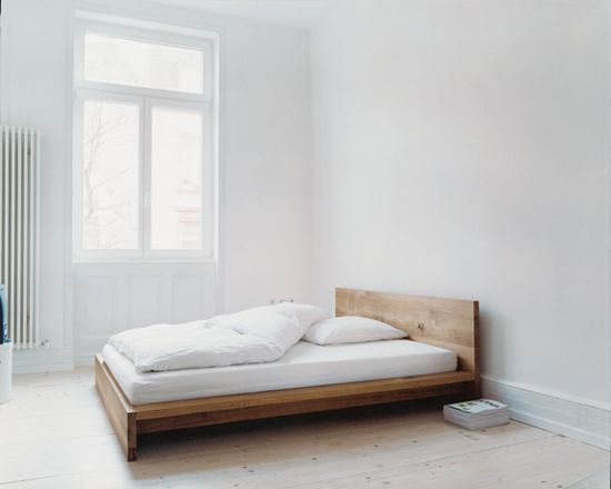 more or less this, but a platform bed. Maybe slightly darker/ cooler wood colouring.