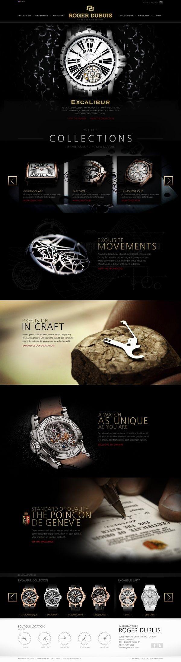 Ideas & Inspirations für Web Designs Roger Dubuis - Site Pitch Redesign by Abe Levin, via Behance Schweizer Webdesign http://www.swisswebwork.ch