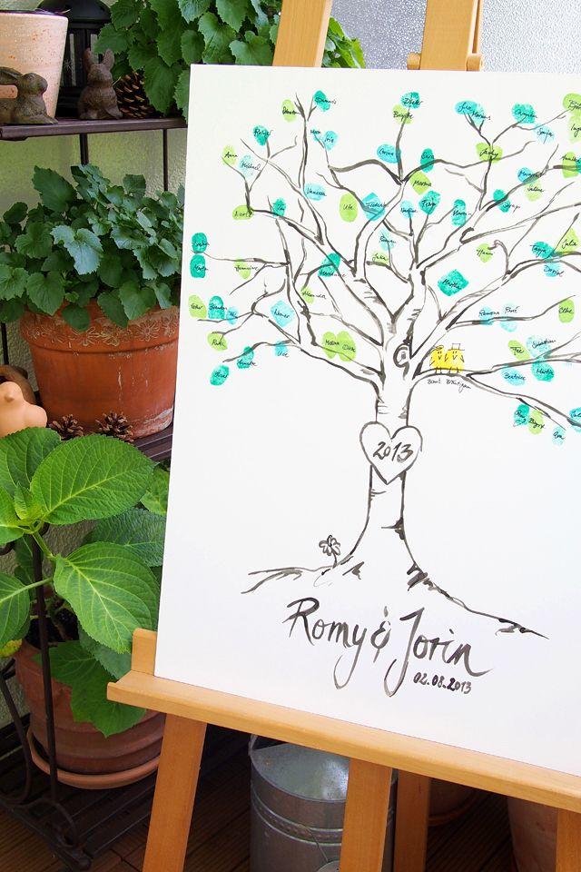 """Fingerabdruck-Baum als Gästebuch für eine Hochzeit // Fingerprint wedding tree - """"Fee ist mein Name"""""""
