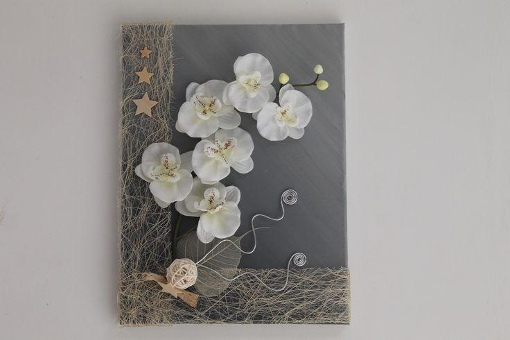 Cadre floral gris et crème avec orchidée : Décorations murales par s-pass-deco