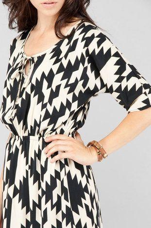 Black & Cream: Geometric Prints, Black And White, Bold Prints, Cute Dresses, Cream Dresses, Black White, Black Cream, Patterns Dresses, Work Dresses