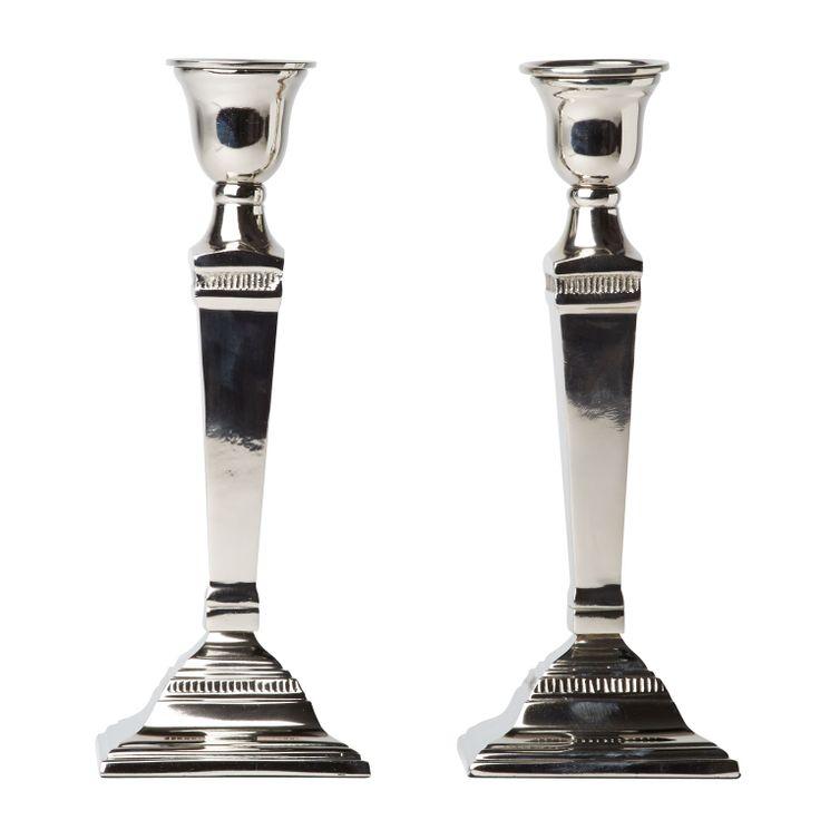 Pair of square silver candle stick holder pair | Interior Design | Diane Bergeron Interiors