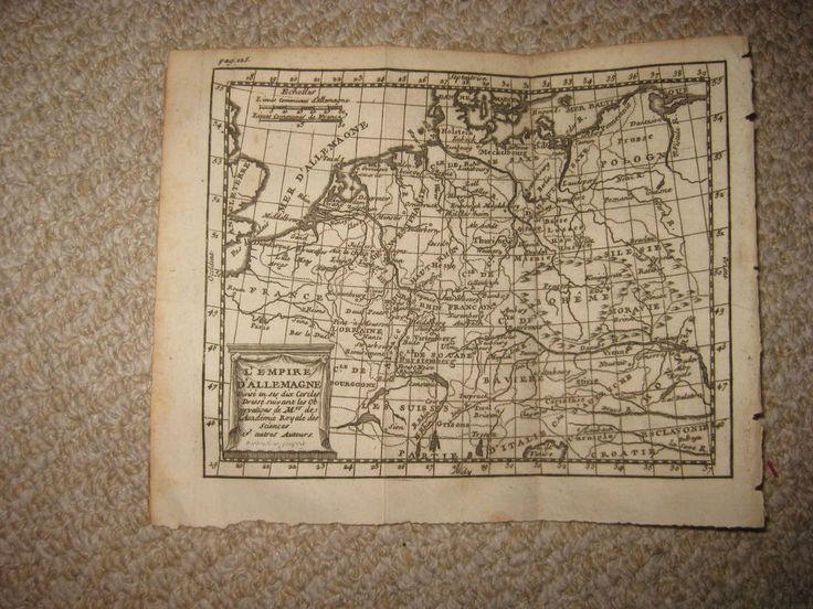 ANTIQUE 1752 GERMAN EMPIRE GERMANY POLAND COPPERPLATE BUFFIER MAP SILESIA RHINE