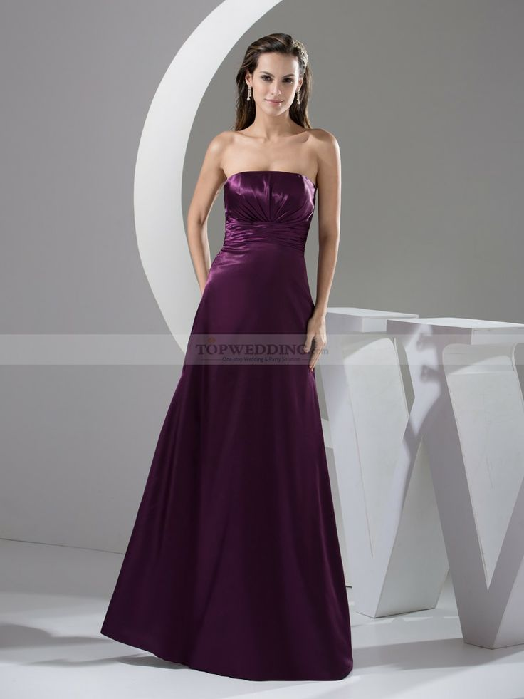 Strapless Elastic Satin Prom Gown with Pleats