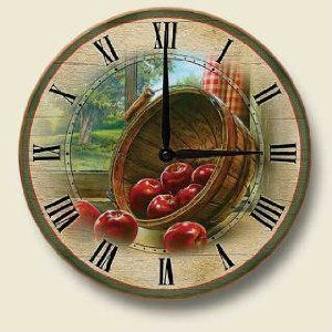 Red Apple Kitchen Decor | RED apple country Kitchen WALL CLOCK home decor art NEW - Amazon.com