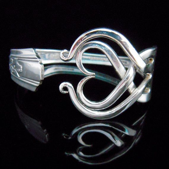 Recycled Jewelry Fork Bracelet in Heart Design by MarchelloArt, $29.99