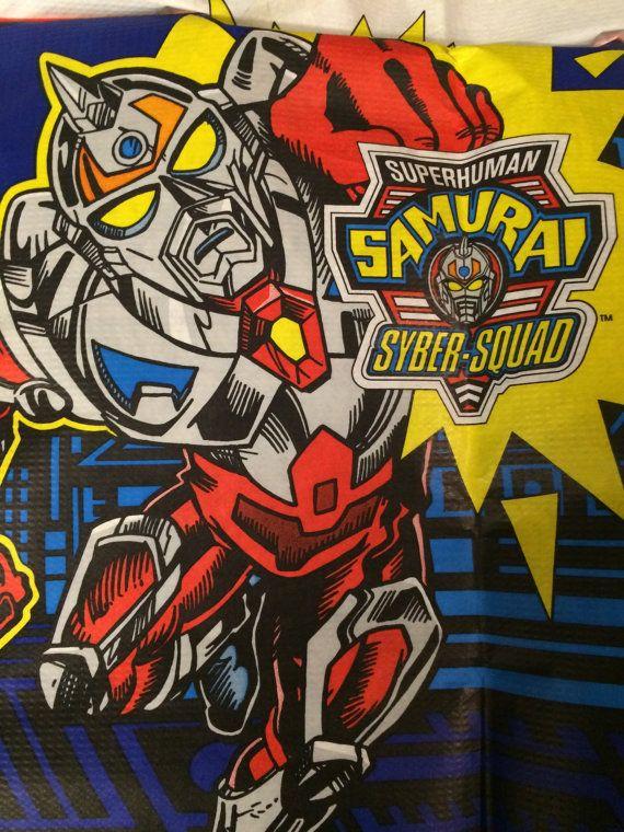 Superhuman samurai syber-squad table cloth by VintageToyCorner