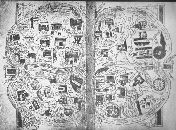 Rekonstrukcja mapy świata Beatusa z Liebany, około 776 r. n.e., kopia Paryż III, 1250 r. n.e.  Południe na górze mapy, Palestyna jest umiejscowiona w środku Afryki a południowe Włochy zaraz koło Jeruzalem.