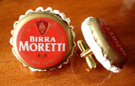 Italian Beer Bottle Cap CUFFLINKS Birra Moretti. $18.00, via Etsy.