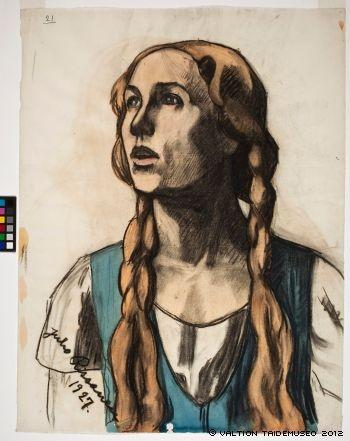 Nuori tyttö, luonnos Kansallisteatterin freskomaalausta varten, 1927