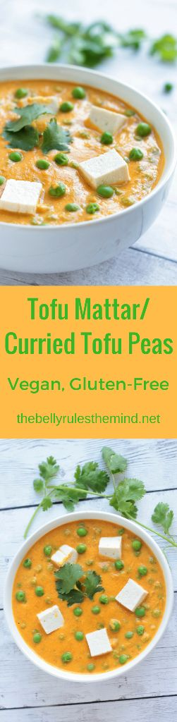 Love Mattar Paneer? Here is a healthier twist to the classic Mattar Paneer. Curried Tofu with peas in a lip-smackingly delicious skinny tomato sauce. Vegan minus all the fat.|www.thebellyrulesthemind.net @bellyrulesdmind