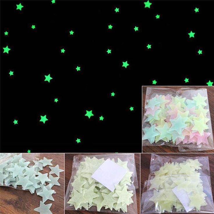100 children fluorescent luminous bedroom storage rooms Star Baby children's toys sticker adhesive sticker Free