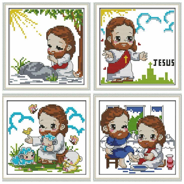 Милый-Иисус-крест-комплект-стежка-Религия-напечатаны-счетный-14ct-11ct-аида-черный-ручная-вышивка-DIY-ручной.jpg (900×900)