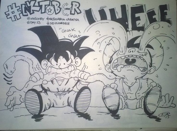Davide Bozza - Dragon Ball vs One Piece - illustration - #inktober #inktober2015 #inktobersonry #massoneriacreativa - www.massoneriacreativa.com