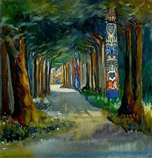 Emily Carr paintings - Totem poles