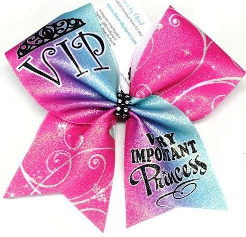 VIP Very Important Princess Glitter Cheer Bow