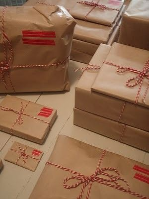 Brown paper packages - this was my Christmas Wrapping for 2010. Brown Paper, Washi Tape and Bakers' Twine by maryellen