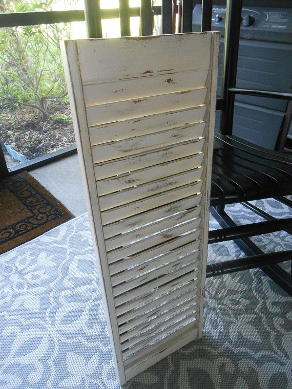 Antique White Wood Shutter Vintage Distressed Old 32 Inch Painted Message Holder Wall Decor