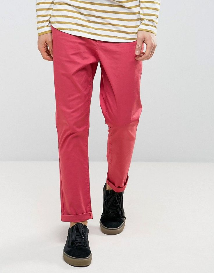 ASOS Tapered Chinos in Red - Red