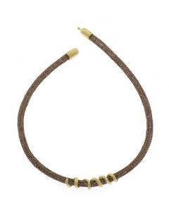 Knitted necklace with 18K gold spiral design