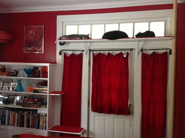 diy royal red cat climbing shelves plus giant scratching pole - Cat Climber