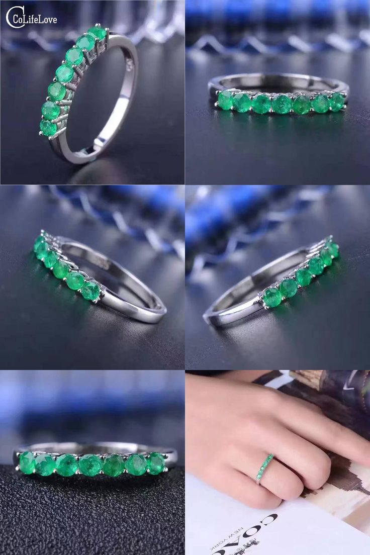 [Visit to Buy] 100% natural emerald ring solid 925 sterling silver emerald ring  2.5mm round natural emerald gemstones ring simple design ring  #Advertisement
