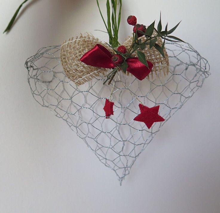Iron wire Heart, cuore con rete metallica, natale, Christmas