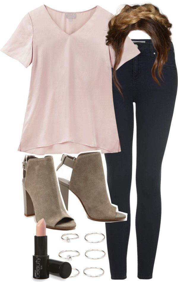 Lydia Inspired School Outfit with Jeans by veterization featuring lips makeup Pink t shirt / Topshop super skinny jeans, $61 / Vince chunky heel ankle booties / Forever 21 ring / Lips makeup, $7.68