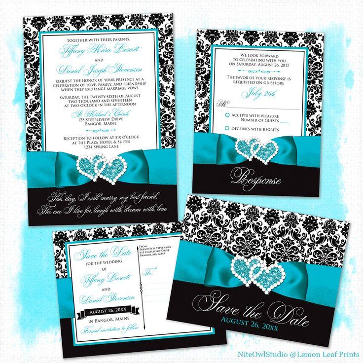 Wedding Invitation   PHOTO Optional | Black And White Damask | PRINTED  Turquoise Ribbon U0026 Double Hearts