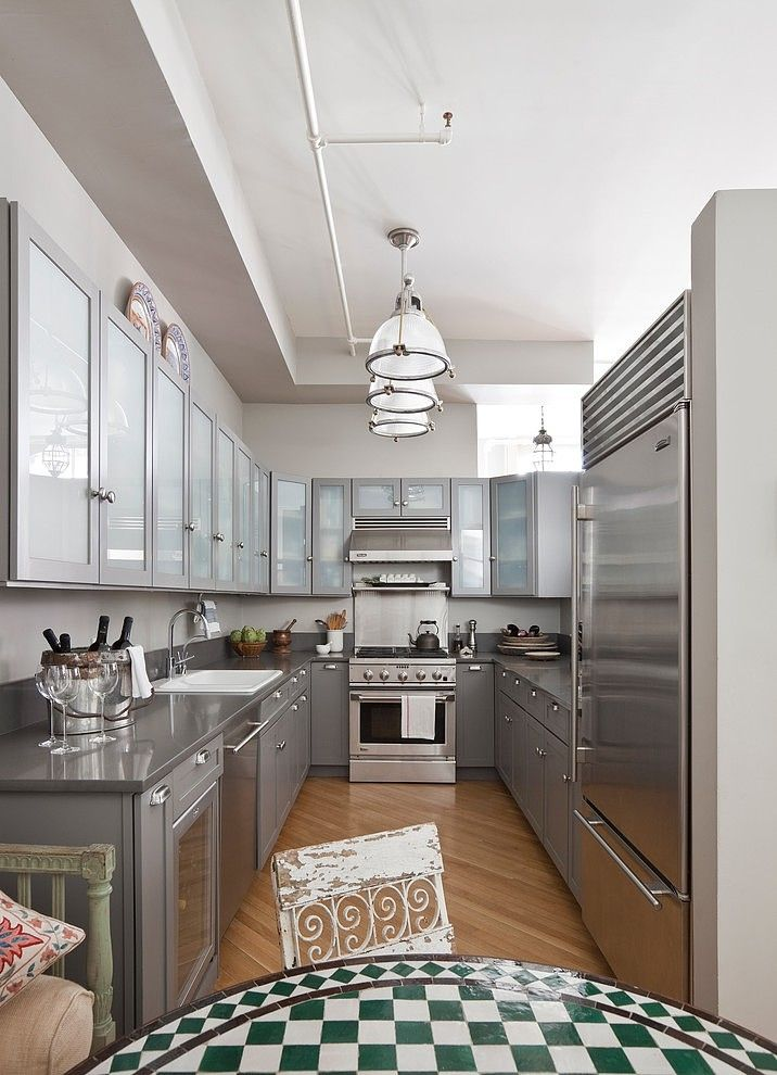 Stainless steel kitchen in a Tribeca loft designed by Deborah French