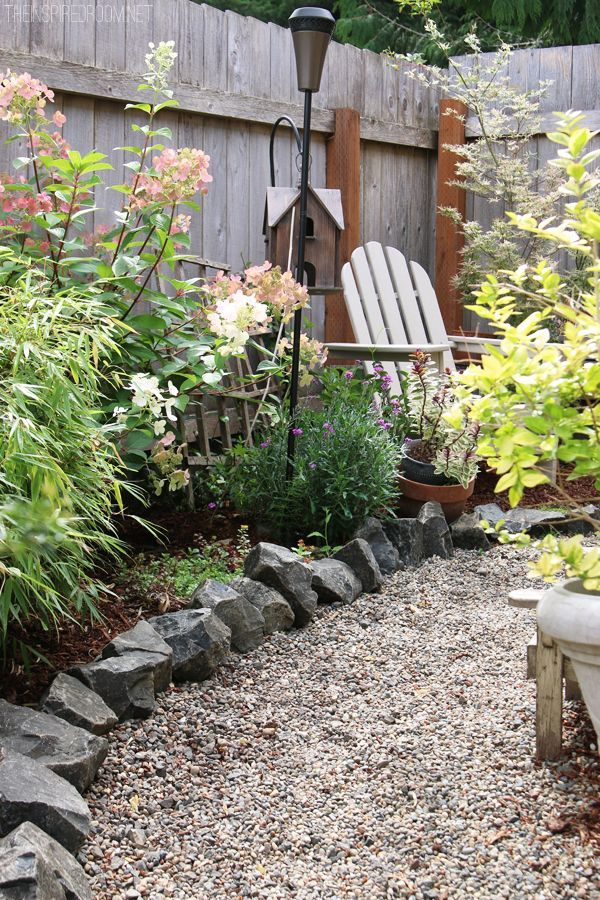 My backyard tour pea gravel patios flagstone secret Backyard designs with gravel