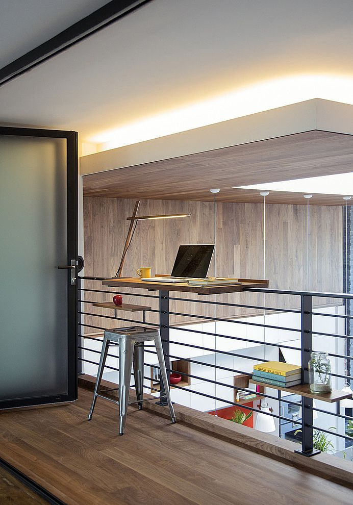 office contemporary design. this two story modern family loft renovation was designed for a young couple starting by zeroenergy design located in boston massachusetts office contemporary