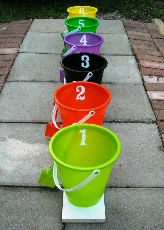 Halloween party Games.  Oo, I remember this bucket one from The Bozo Show.