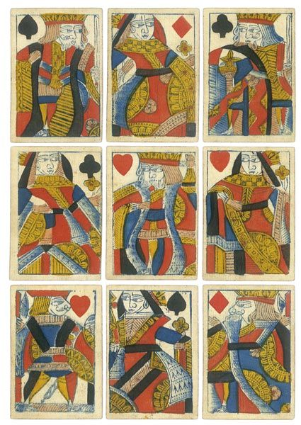 English Georgian Playing Cards circa 1801.  Playing card games was a popular pastime in the eighteenth century. Favourite games were Whist, Cribbage, Piquet and Loo. There was much gambling at this time.