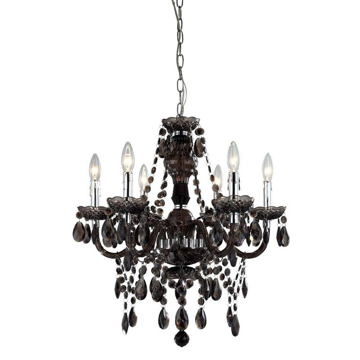 Smokey Topaz Acrylic Beads And Jewel Pendants Adorn This Classically Styled Black Chandelier Reflecting Light