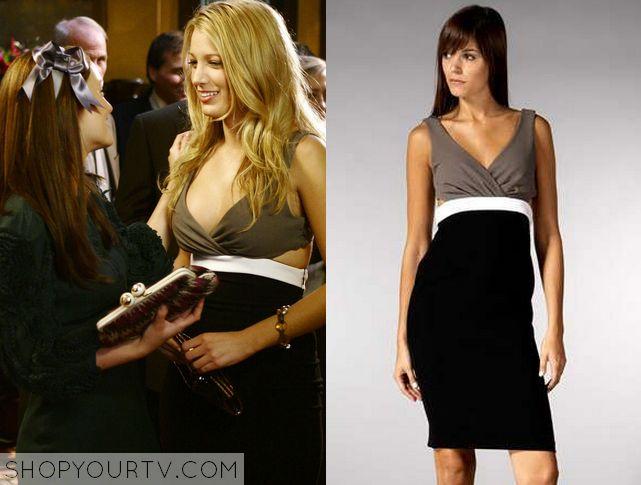 Gossip Girl: Season 2 Episode 6 Serena's Colorblock Cut Out Dress