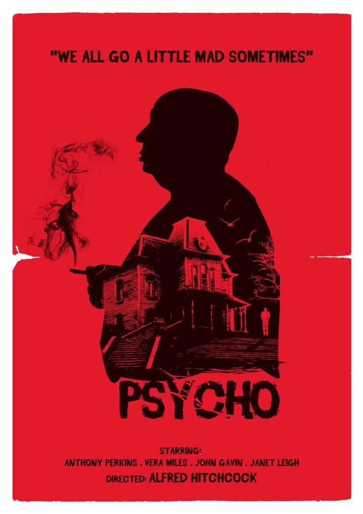 alternative psycho movie poster art digital print alfred hitchcock classic retro vintage film. Black Bedroom Furniture Sets. Home Design Ideas
