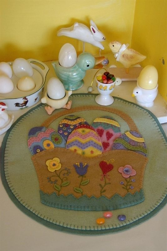 Fill a Wool Applique basket with decorated eggs for your table.