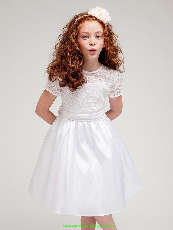 White Elegant Laced Bodice Trimmed Girl Dress