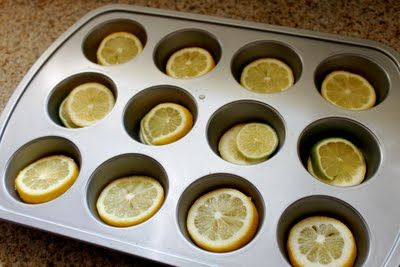Pour water on top of lemons and freeze - perfect way to refresh pitchers of water - and looks pretty too!Lemon Limes, Ice Cubes, Limes Ice, Muffins Tins, Pour Water, Icecubes, Lemon Ice, Lemon Water, Refreshing Pitcher