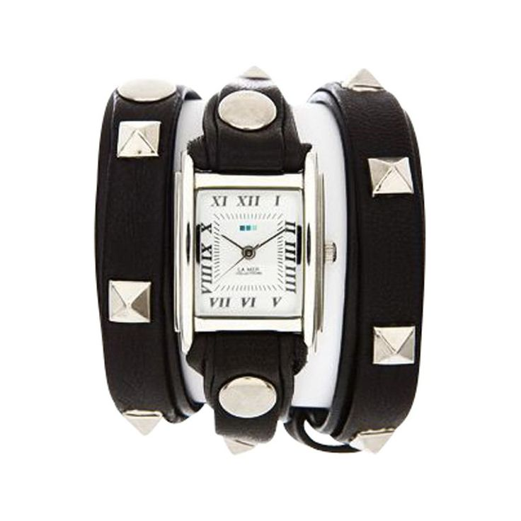 Silver Pyramid Stud Wrap Watch — Black by La Mer Collections | Watches Gifts | chapters.indigo.ca
