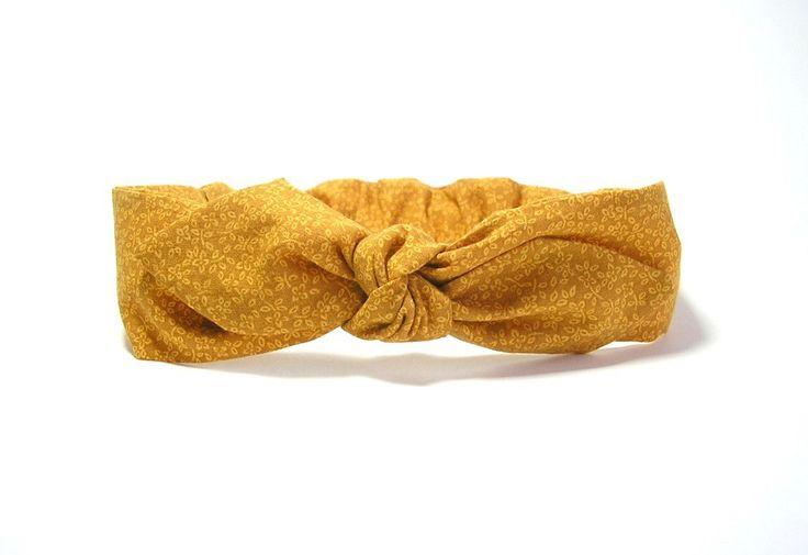 Bandeau cheveux fleurs jaune moutarde , élastique taille adulte Tricotmuse : Accessoires coiffure par tricotmuse