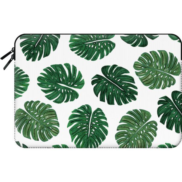 Macbook Sleeve - Tropical Green Watercolor Painted  Swiss Cheese Plant... (£41) ❤ liked on Polyvore featuring accessories, tech accessories, bags and macbook sleeve